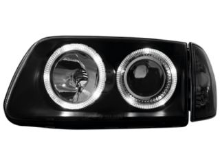 VW Polo 6N2 1999 2001 Halo Rims Headlights Head Lights Clear Black