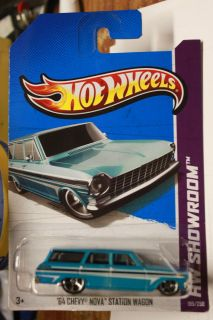 HOT WHEELS 2013 HW SHOWROOM #195/250 64 CHEVY NOVA STATION WAGON BLUE