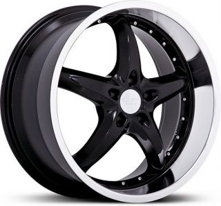 20 inch Ruff Racing 280 Black Staggered Mustang Wheels