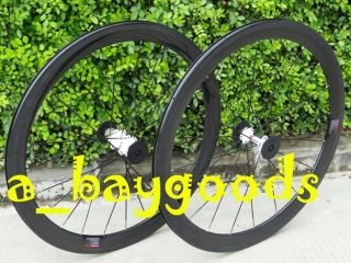 Hub Full Carbon 3K 700C Road Bike Clincher wheelset 50mm Rims Skewer