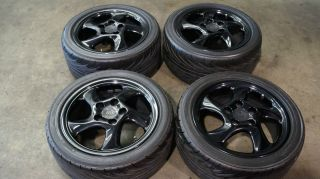 17 Porsche Carrera 911 993 964 Black Turbo Twist Wheels Tires
