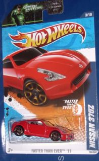 2011 Hot Wheels Nissan 370Z on Green Lantern Card