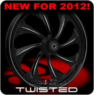 BLACK WANARYD TWISTED FRONT REAR WHEELS & TIRES HARLEY FLH FLHR FLHX