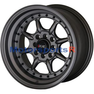 16 16x8 XXR 002 Flat Gun Metal Rims Wheels Deep Dish Lip 4x100 03 06