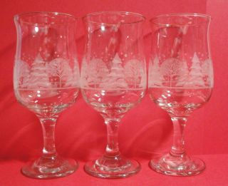 Christmas Etched Winter Scene Water Wine Goblets with Gold Rims