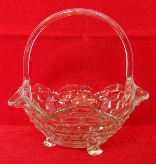 American Clear Crystal Huge 3 Footed Handled Basket Crimped Rim