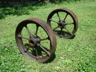 Antique Cast Iron Wheels Stationary Steam Hit Miss Engine Cart Parts