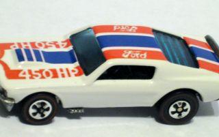 Hot Wheels Red Line Mustang Stocker RARE White Enamel Red Blue Tampo