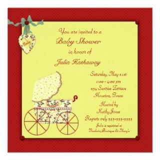 Red Yellow Baby Buggy Baby Shower Invite