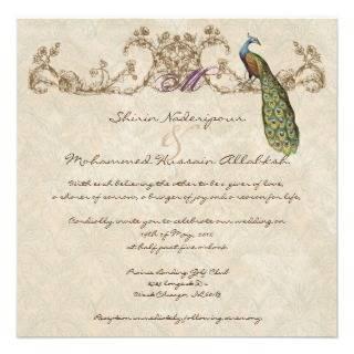 Vintage Peacock & Etchings Wedding Invitation