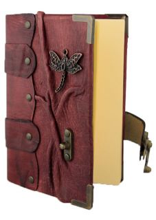 on A Red Leather Bound Journal Notebook Diary Sketchbook