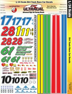 MG3443 1 24 High Def Dirt Track Race Car Ultracal Decals