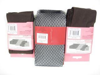 Lot 3 Memoi Brown Opaque Black Fishnet Tights s M