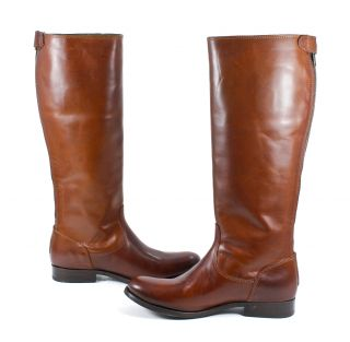 Frye Womens Melissa Button Back Zip Leather Cognac Brown Tall Boot 7 5