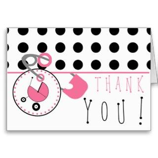 Baby Shower Thank You   Polka Dot & Diaper Pin Cards
