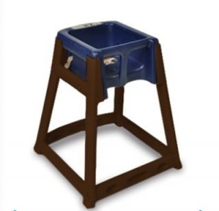 CSL Foodservice & Hospitality High Chair Infant Seat w/ Blue Seat, Dark Brown Frame