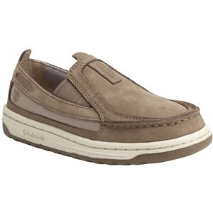 Timberland Kids Ryan Springs Leather and Fabric Slip On Boat Youth Greige Nubuck Shoes   3576R