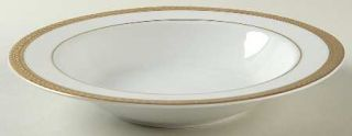 Block China Manchester Gold Large Rim Soup Bowl, Fine China Dinnerware   Gold En