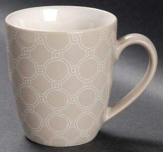 Jaclyn Smith Chain Link Mug, Fine China Dinnerware   Today,Cream&Taupe,Geometric