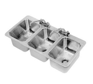 Advance Tabco Drop In Sink   (3) 10x14x10 Bowl, Deck Mount Swing Spout, 18 ga 304 Stainless
