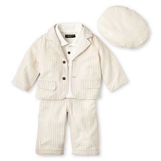 Wendy Bellissimo 3 pc. Khaki Seersucker Pant Set   Boys 6m 24m, Tan, Boys