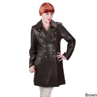 Ramonti Womens Leather Double breasted Military Coat