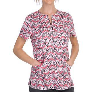 Dansko Gillian Empire Waist Print Scrub Top   Short Sleeve (For Women)   CAMELIA DUTCH FLORAL (S )
