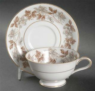 Noritake Allison Footed Cup & Saucer Set, Fine China Dinnerware   Gray/Brown Flo