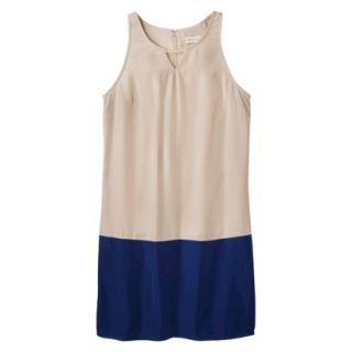 Merona Womens Colorblock Hem Shift Dress   Beige/Waterloo Blue   16