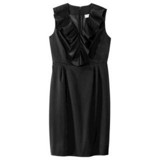 Merona Womens Twill Ruffle Neck Dress   Black   10