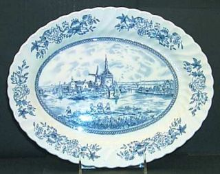 Johnson Brothers Tulip Time Blue (White Background) 12 Oval Serving Platter, Fi