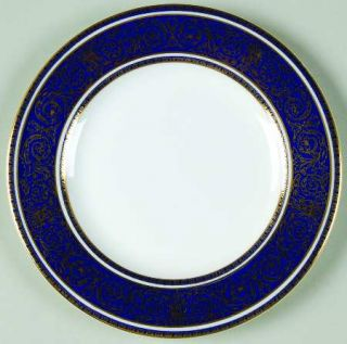 Royal Doulton Imperial Blue Bread & Butter Plate, Fine China Dinnerware   Gold F