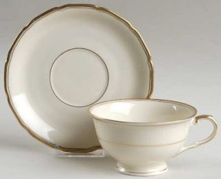 Black Knight Fortuna Footed Cup & Saucer Set, Fine China Dinnerware   Ivory Body