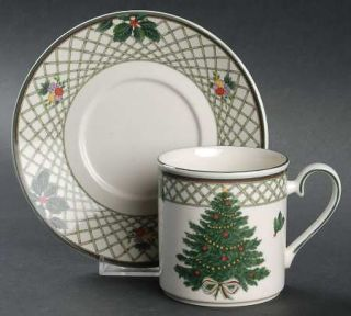 ... Mikasa Christmas Story Flat Cup u0026 Saucer Set Fine China Dinnerware Green Latt ... & Mikasa Christmas Story Bon Bon Plate Frosted Child/Trees White Edge