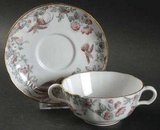 Royal Worcester Lakme Pink/Gray Flat Cream Soup Bowl & Saucer Set, Fine China Di