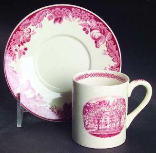 Wedgwood Harvard University Pink (No Gold Trim) Flat Demitasse Cup & Saucer, Fin