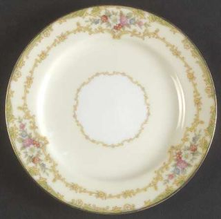 Noritake Roberta Bread & Butter Plate, Fine China Dinnerware   Green Edge,Floral