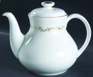 Royal Doulton French Provincial Teapot & Lid, Fine China Dinnerware   Inner Gold