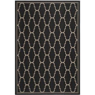 Safavieh Indoor/ Outdoor Moroccan Courtyard Black/ Beige Rug (4 X 57)
