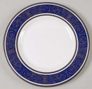 Royal Doulton Imperial Blue Salad Plate, Fine China Dinnerware   Gold Filigree O
