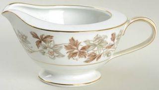 Noritake Allison Creamer, Fine China Dinnerware   Gray/Brown Flowers, Brown Leav