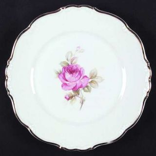 Edelstein La Vie En Rose Dinner Plate, Fine China Dinnerware   Pink Rose, Gold T