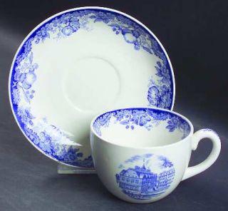 Wedgwood Harvard University Blue Flat Cup & Saucer Set, Fine China Dinnerware