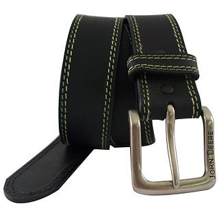 John Deere Buffalo Leather Bridle Belt, Black, Mens