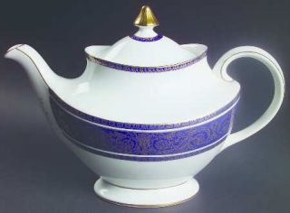 Royal Doulton Imperial Blue Teapot & Lid, Fine China Dinnerware   Gold Filigree