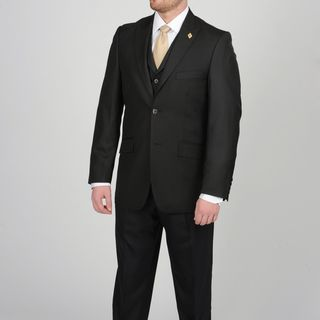 Stacy Adams Mens Black Two button Vested Suit