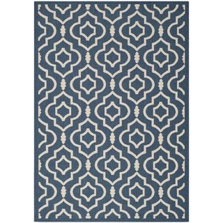 Safavieh Abstract Indoor/outdoor Courtyard Navy/beige Rug (53 X 77)