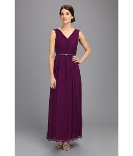 Donna Morgan V Neck Long Chiffon Gown Dress Womens Dress (Purple)