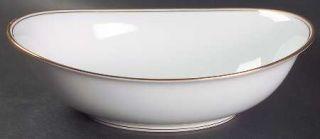 Noritake Allison 10 Oval Vegetable Bowl, Fine China Dinnerware   White With Gol