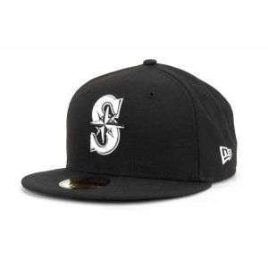Seattle Mariners New Era MLB Black and White Fashion 59FIFTY Cap